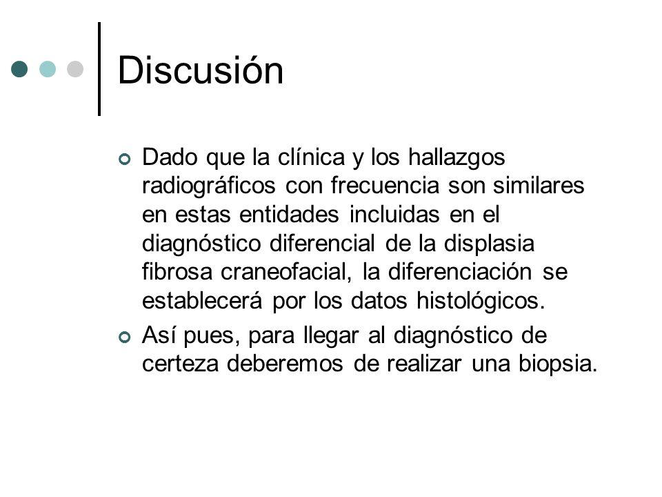Discusión Dado que la clínica y los hallazgos radiográficos con frecuencia son similares en estas entidades incluidas en el diagnóstico diferencial de