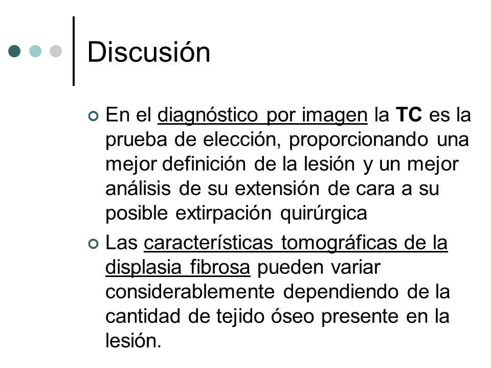 Discusión En el diagnóstico por imagen la TC es la prueba de elección, proporcionando una mejor definición de la lesión y un mejor análisis de su exte