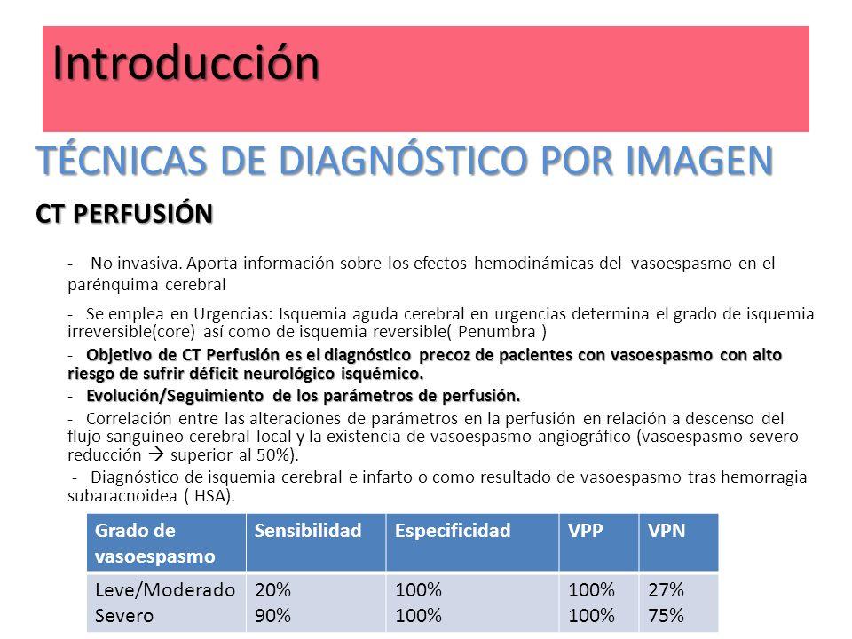 Grado de vasoespasmo SensibilidadEspecificidadVPPVPN Leve/Moderado Severo 20% 90% 100% 27% 75% Introducción TÉCNICAS DE DIAGNÓSTICO POR IMAGEN CT PERF