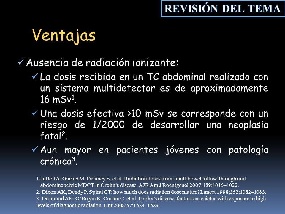 Ventajas Ausencia de radiación ionizante: La dosis recibida en un TC abdominal realizado con un sistema multidetector es de aproximadamente 16 mSv 1.