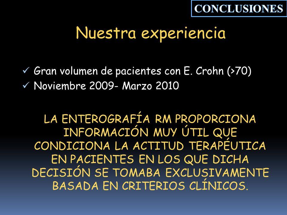 Nuestra experiencia Gran volumen de pacientes con E.