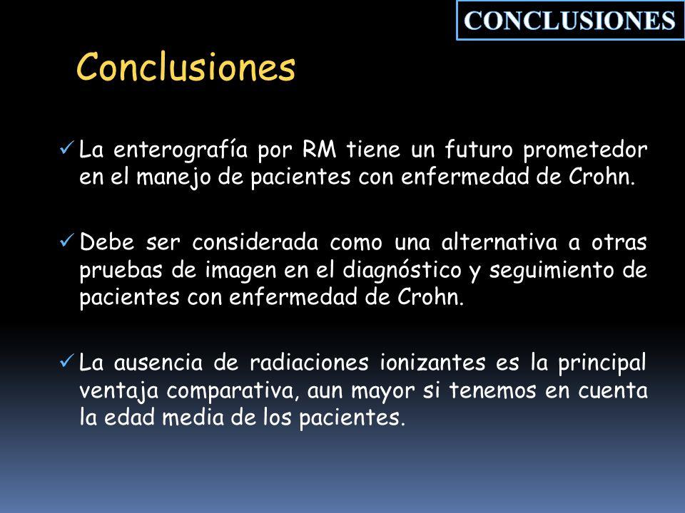 Conclusiones La enterografía por RM tiene un futuro prometedor en el manejo de pacientes con enfermedad de Crohn.