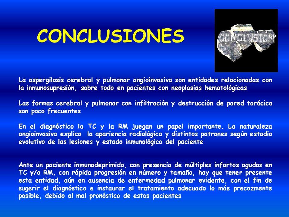 CONCLUSIONES La aspergilosis cerebral y pulmonar angioinvasiva son entidades relacionadas con la inmunosupresión, sobre todo en pacientes con neoplasi