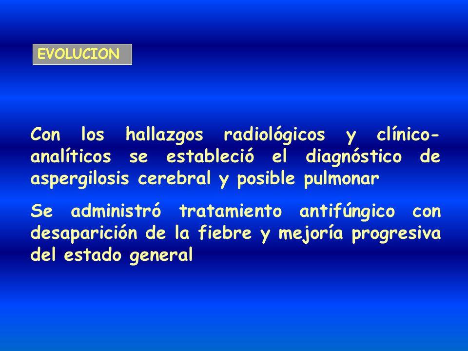 Con los hallazgos radiológicos y clínico- analíticos se estableció el diagnóstico de aspergilosis cerebral y posible pulmonar Se administró tratamient