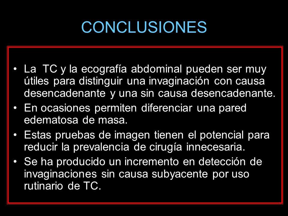 CONCLUSIONES La TC y la ecografía abdominal pueden ser muy útiles para distinguir una invaginación con causa desencadenante y una sin causa desencaden