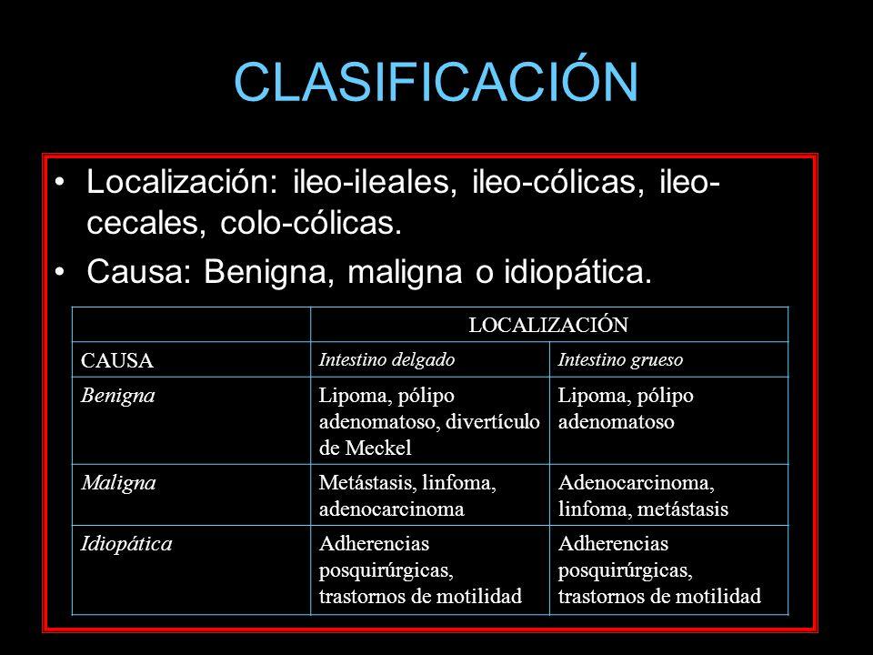 CLASIFICACIÓN Localización: ileo-ileales, ileo-cólicas, ileo- cecales, colo-cólicas. Causa: Benigna, maligna o idiopática. LOCALIZACIÓN CAUSA Intestin