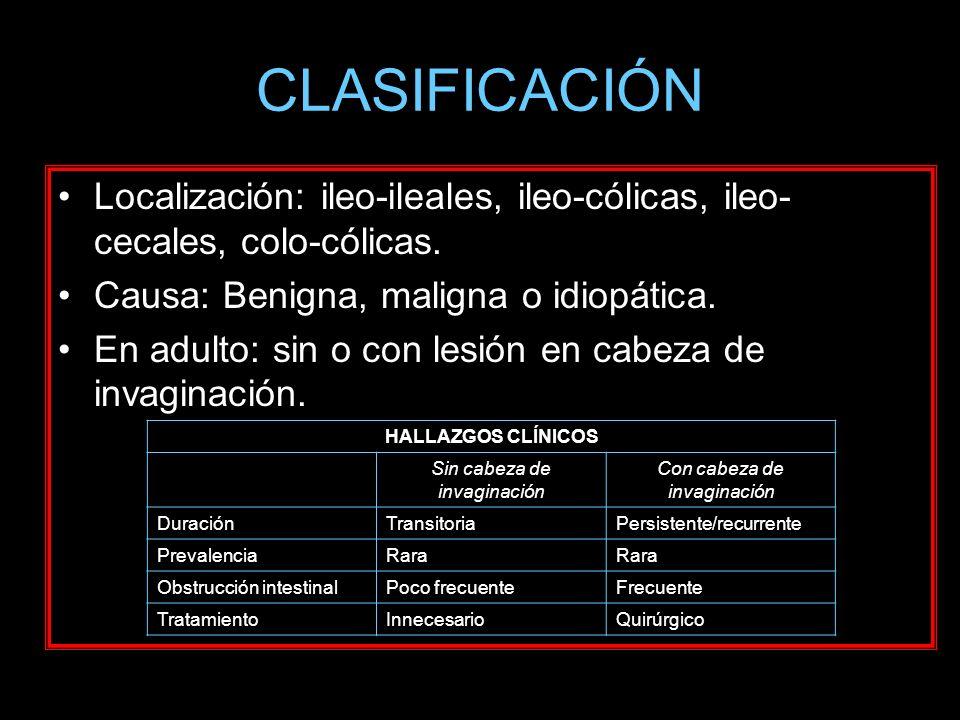 CLASIFICACIÓN Localización: ileo-ileales, ileo-cólicas, ileo- cecales, colo-cólicas. Causa: Benigna, maligna o idiopática. En adulto: sin o con lesión