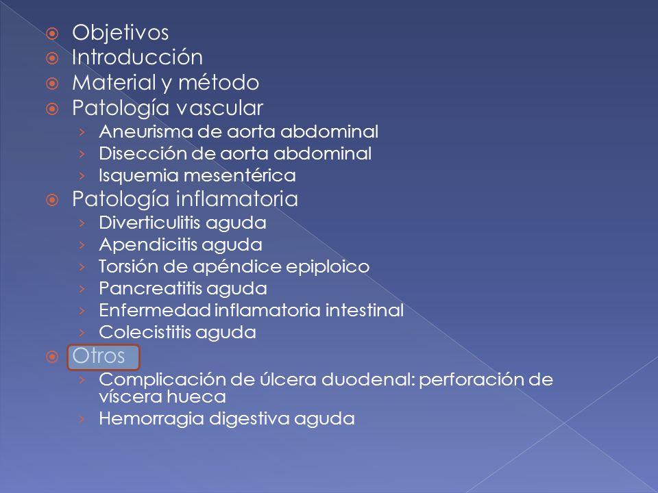 Objetivos Introducción Material y método Patología vascular Aneurisma de aorta abdominal Disección de aorta abdominal Isquemia mesentérica Patología i