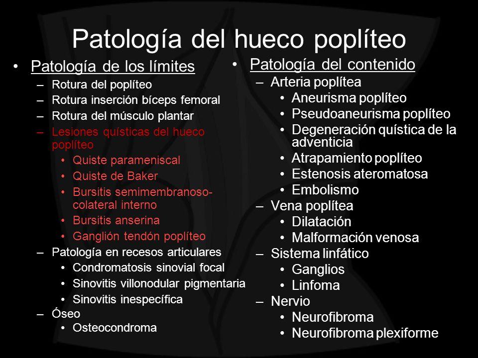 Patología del contenido –Arteria poplítea Aneurisma poplíteo Pseudoaneurisma poplíteo Degeneración quística de la adventicia Atrapamiento poplíteo Est