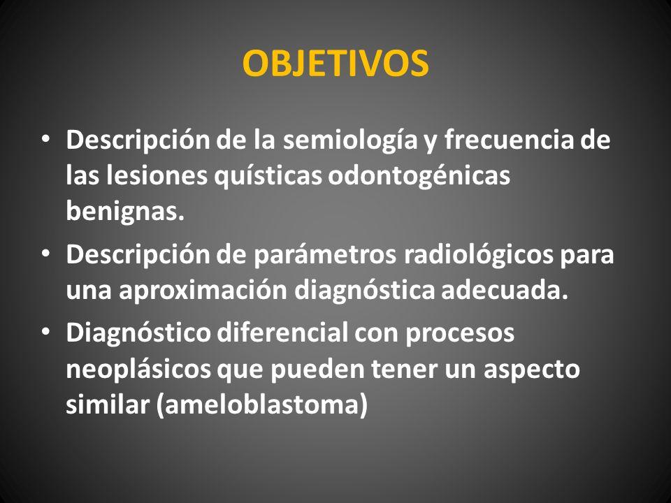 OBJETIVOS Descripción de la semiología y frecuencia de las lesiones quísticas odontogénicas benignas. Descripción de parámetros radiológicos para una