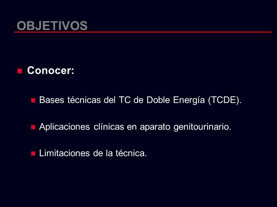 OBJETIVOS Conocer: Bases técnicas del TC de Doble Energía (TCDE). Aplicaciones clínicas en aparato genitourinario. Limitaciones de la técnica.