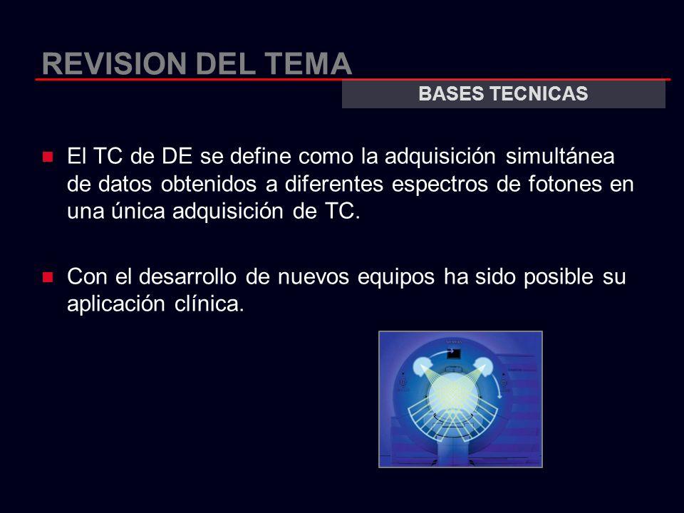 REVISION DEL TEMA El TC de DE se define como la adquisición simultánea de datos obtenidos a diferentes espectros de fotones en una única adquisición d
