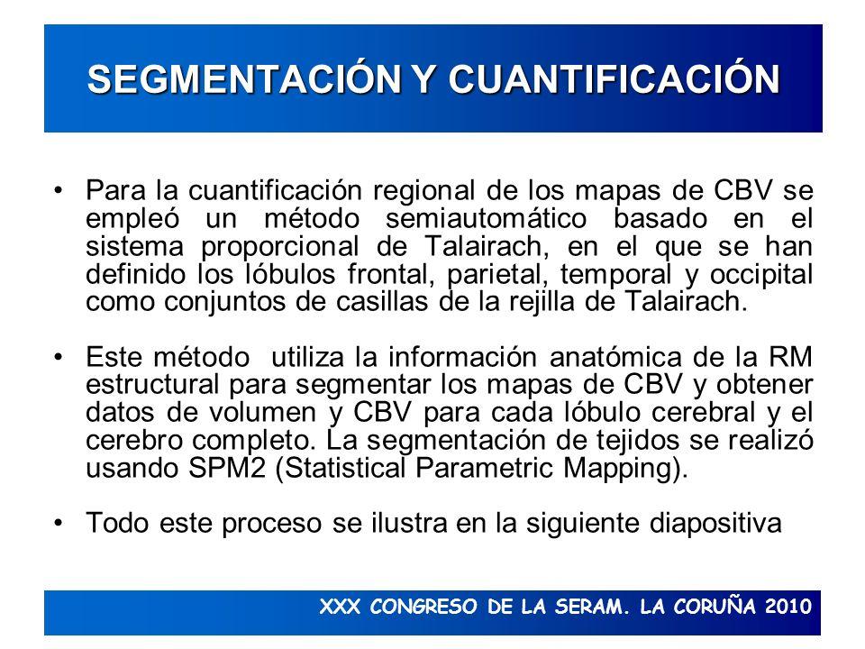 XXX CONGRESO DE LA SERAM. LA CORUÑA 2010 SEGMENTACIÓN Y CUANTIFICACIÓN Para la cuantificación regional de los mapas de CBV se empleó un método semiaut