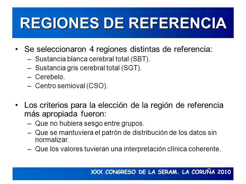 XXX CONGRESO DE LA SERAM. LA CORUÑA 2010 REGIONES DE REFERENCIA Se seleccionaron 4 regiones distintas de referencia: –Sustancia blanca cerebral total