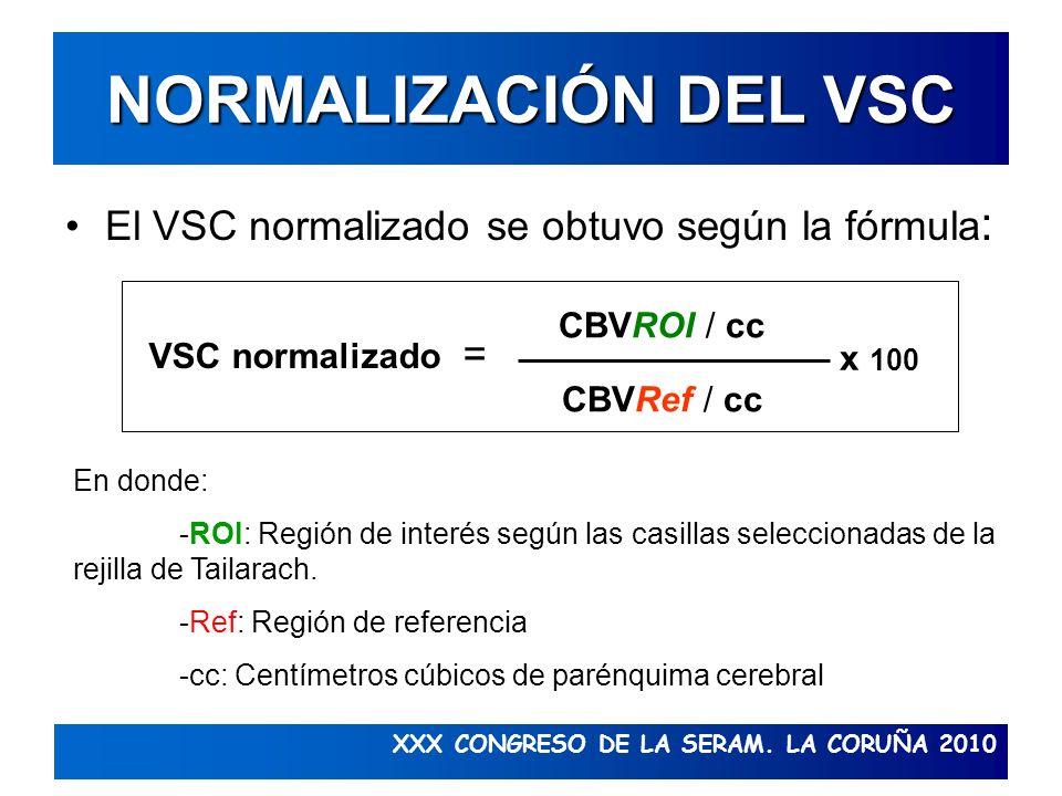 XXX CONGRESO DE LA SERAM. LA CORUÑA 2010 NORMALIZACIÓN DEL VSC El VSC normalizado se obtuvo según la fórmula : CBVROI / cc CBVRef / cc VSC normalizado