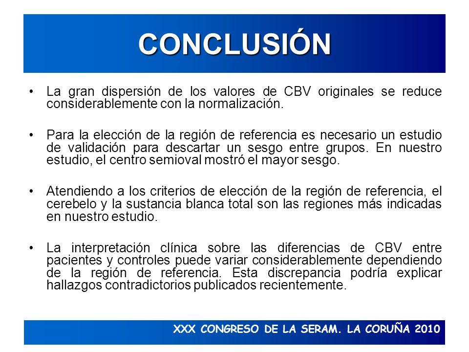 XXX CONGRESO DE LA SERAM. LA CORUÑA 2010 CONCLUSIÓN La gran dispersión de los valores de CBV originales se reduce considerablemente con la normalizaci
