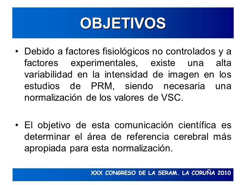 XXX CONGRESO DE LA SERAM. LA CORUÑA 2010 OBJETIVOS Debido a factores fisiológicos no controlados y a factores experimentales, existe una alta variabil