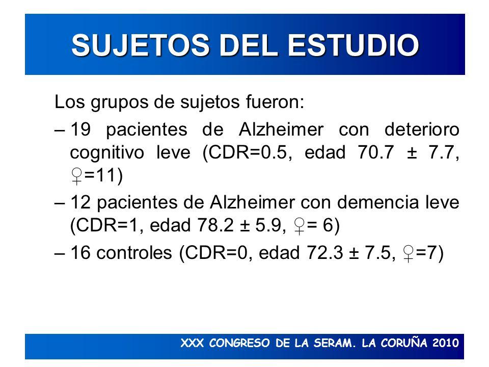 XXX CONGRESO DE LA SERAM. LA CORUÑA 2010 SUJETOS DEL ESTUDIO Los grupos de sujetos fueron: –19 pacientes de Alzheimer con deterioro cognitivo leve (CD