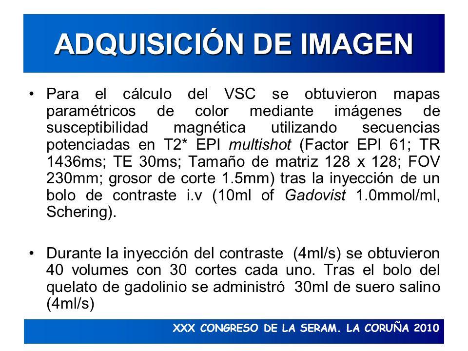 XXX CONGRESO DE LA SERAM. LA CORUÑA 2010 ADQUISICIÓN DE IMAGEN Para el cálculo del VSC se obtuvieron mapas paramétricos de color mediante imágenes de