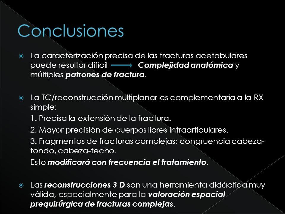 La caracterización precisa de las fracturas acetabulares puede resultar difícil Complejidad anatómica y múltiples patrones de fractura. La TC/reconstr
