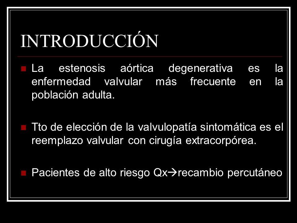 INTRODUCCIÓN La estenosis aórtica degenerativa es la enfermedad valvular más frecuente en la población adulta. Tto de elección de la valvulopatía sint