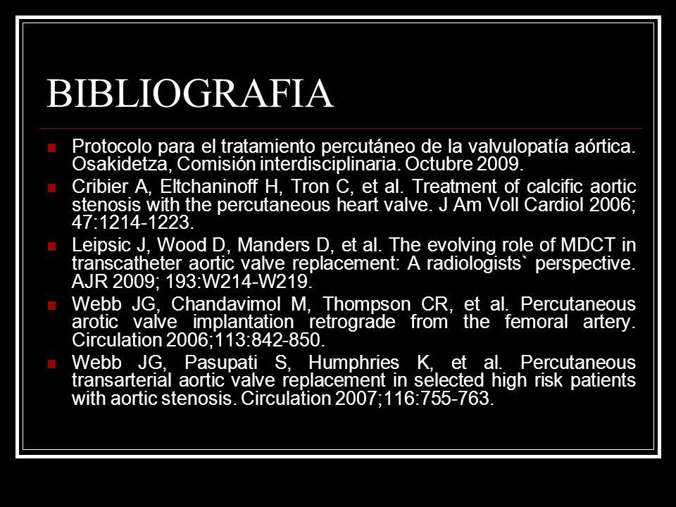 BIBLIOGRAFIA Protocolo para el tratamiento percutáneo de la valvulopatía aórtica. Osakidetza, Comisión interdisciplinaria. Octubre 2009. Cribier A, El