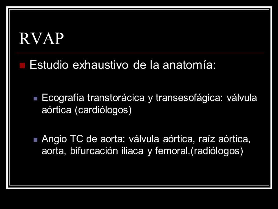 RVAP Estudio exhaustivo de la anatomía: Ecografía transtorácica y transesofágica: válvula aórtica (cardiólogos) Angio TC de aorta: válvula aórtica, ra