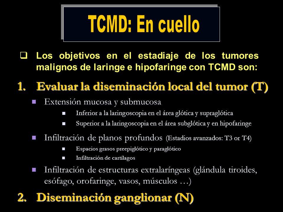 Los objetivos en el estadiaje de los tumores malignos de laringe e hipofaringe con TCMD son: 1.Evaluar la diseminación local del tumor (T) Extensión m
