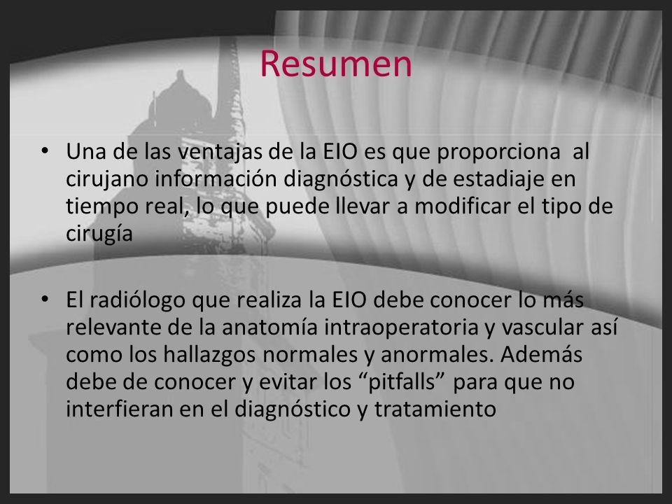 Resumen Una de las ventajas de la EIO es que proporciona al cirujano información diagnóstica y de estadiaje en tiempo real, lo que puede llevar a modi