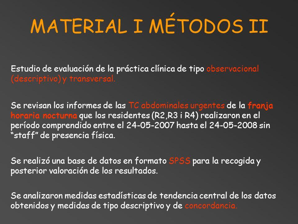 MATERIAL I MÉTODOS II Se revisan los informes de las TC abdominales urgentes de la franja horaria nocturna que los residentes (R2,R3 i R4) realizaron