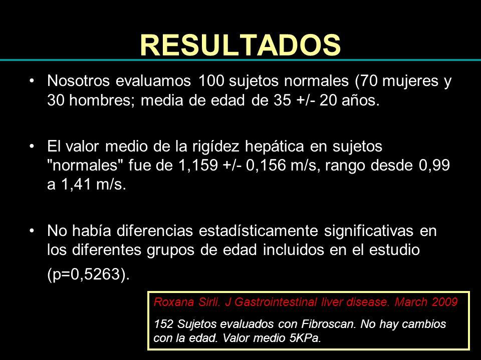 RESULTADOS Nosotros evaluamos 100 sujetos normales (70 mujeres y 30 hombres; media de edad de 35 +/- 20 años. El valor medio de la rigídez hepática en