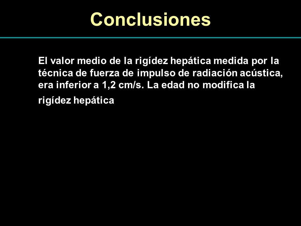 Conclusiones El valor medio de la rigídez hepática medida por la técnica de fuerza de impulso de radiación acústica, era inferior a 1,2 cm/s. La edad