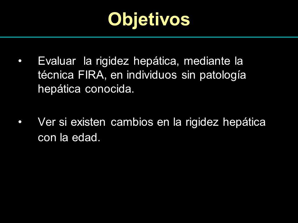 Objetivos Evaluar la rigidez hepática, mediante la técnica FIRA, en individuos sin patología hepática conocida. Ver si existen cambios en la rigidez h