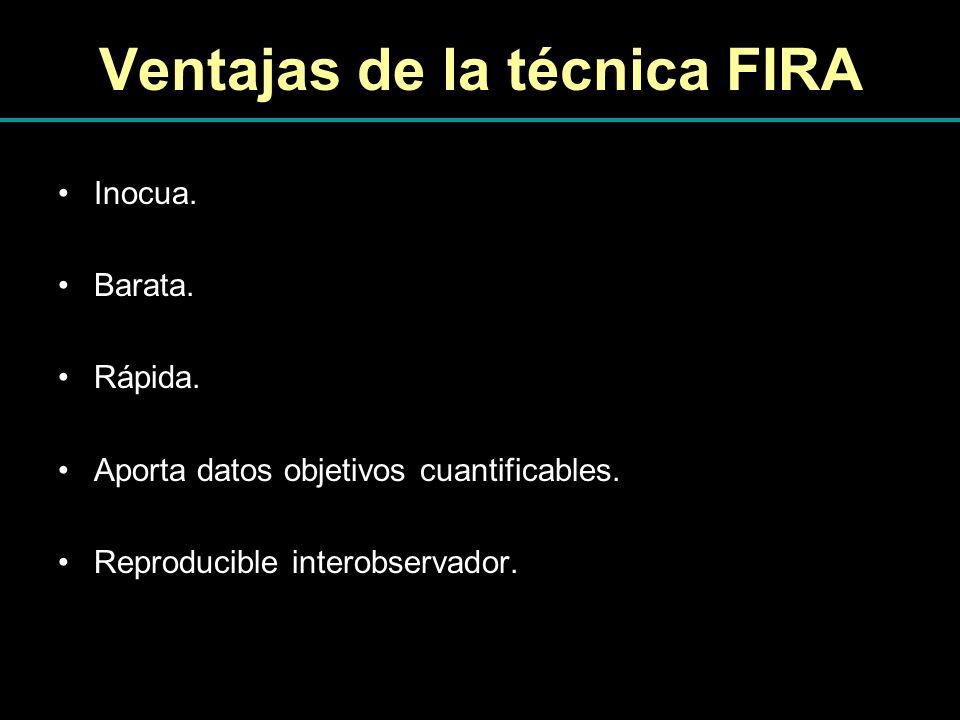Ventajas de la técnica FIRA Inocua. Barata. Rápida. Aporta datos objetivos cuantificables. Reproducible interobservador.