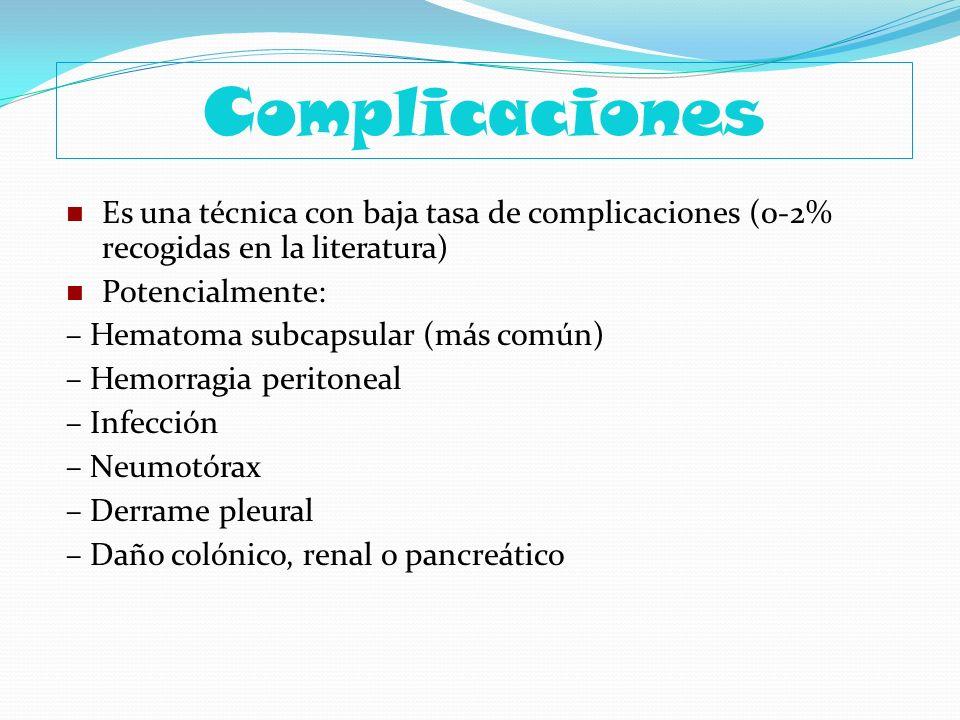 Complicaciones Es una técnica con baja tasa de complicaciones (0-2% recogidas en la literatura) Potencialmente: – Hematoma subcapsular (más común) – H
