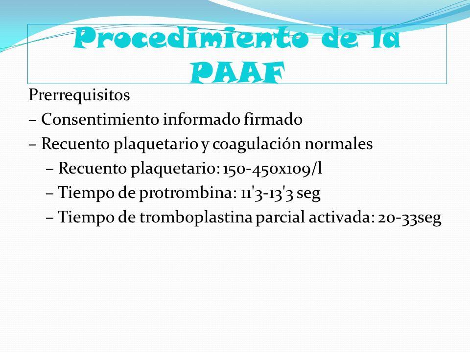 Procedimiento de la PAAF Prerrequisitos – Consentimiento informado firmado – Recuento plaquetario y coagulación normales – Recuento plaquetario: 150-4