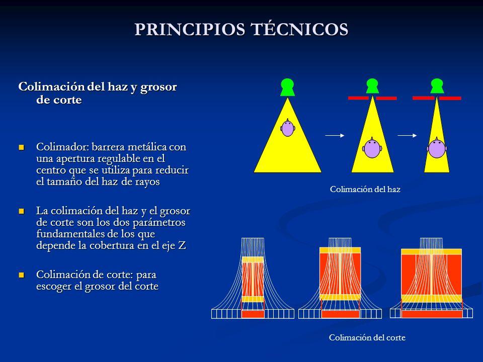 PRINCIPIOS TÉCNICOS Colimación del haz y grosor de corte Colimador: barrera metálica con una apertura regulable en el centro que se utiliza para reduc