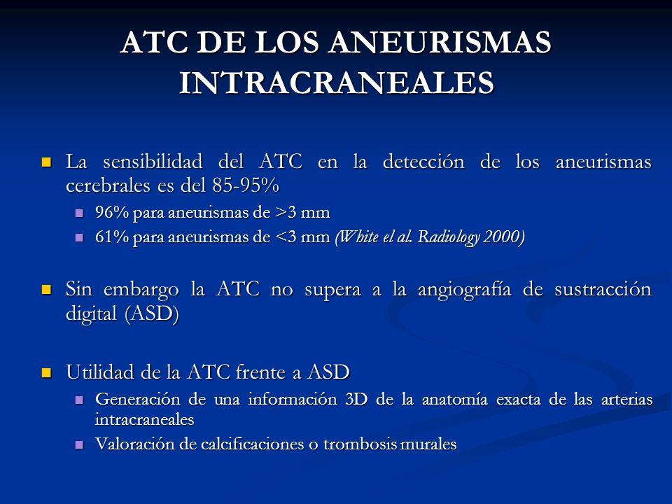 ATC DE LOS ANEURISMAS INTRACRANEALES La sensibilidad del ATC en la detección de los aneurismas cerebrales es del 85-95% La sensibilidad del ATC en la