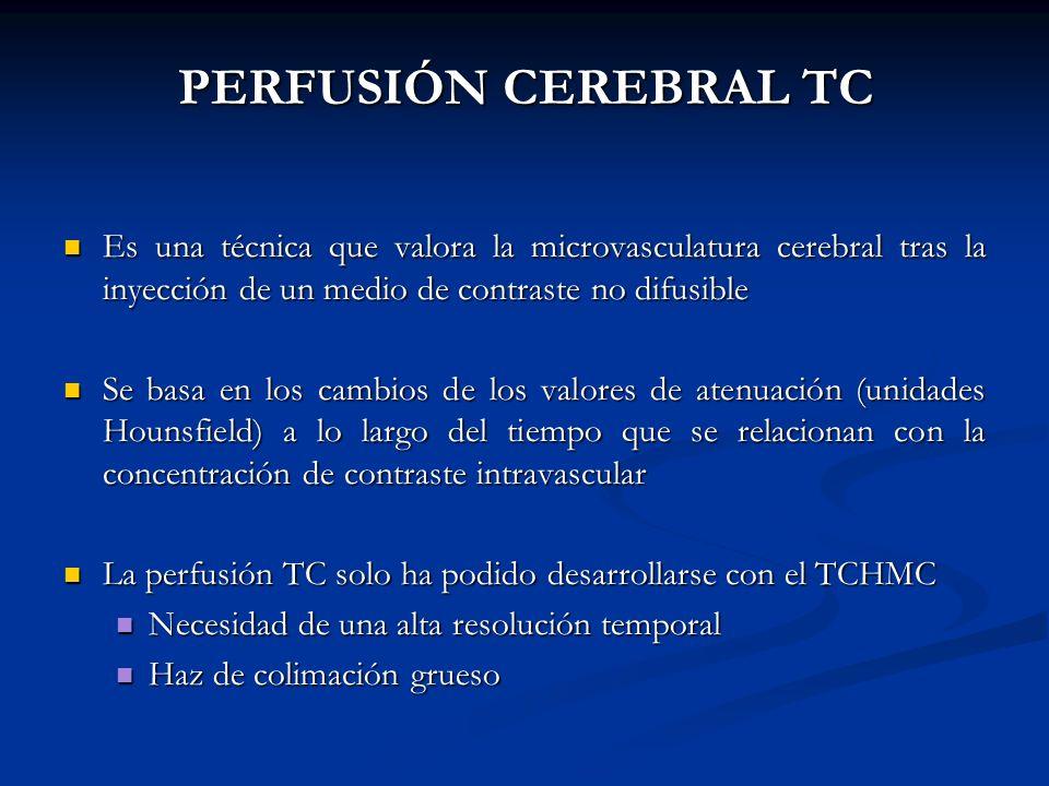 PERFUSIÓN CEREBRAL TC Es una técnica que valora la microvasculatura cerebral tras la inyección de un medio de contraste no difusible Es una técnica qu