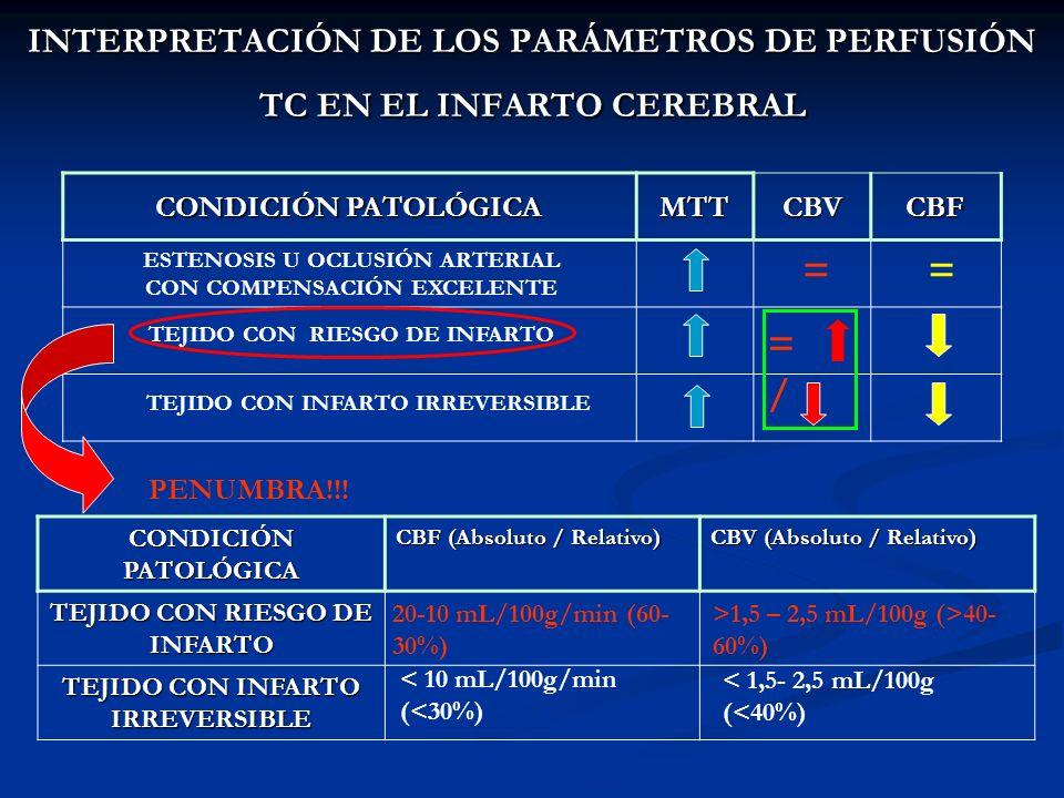 CONDICIÓN PATOLÓGICA MTTCBVCBF =/=/ TEJIDO CON RIESGO DE INFARTO ESTENOSIS U OCLUSIÓN ARTERIAL CON COMPENSACIÓN EXCELENTE == TEJIDO CON INFARTO IRREVE