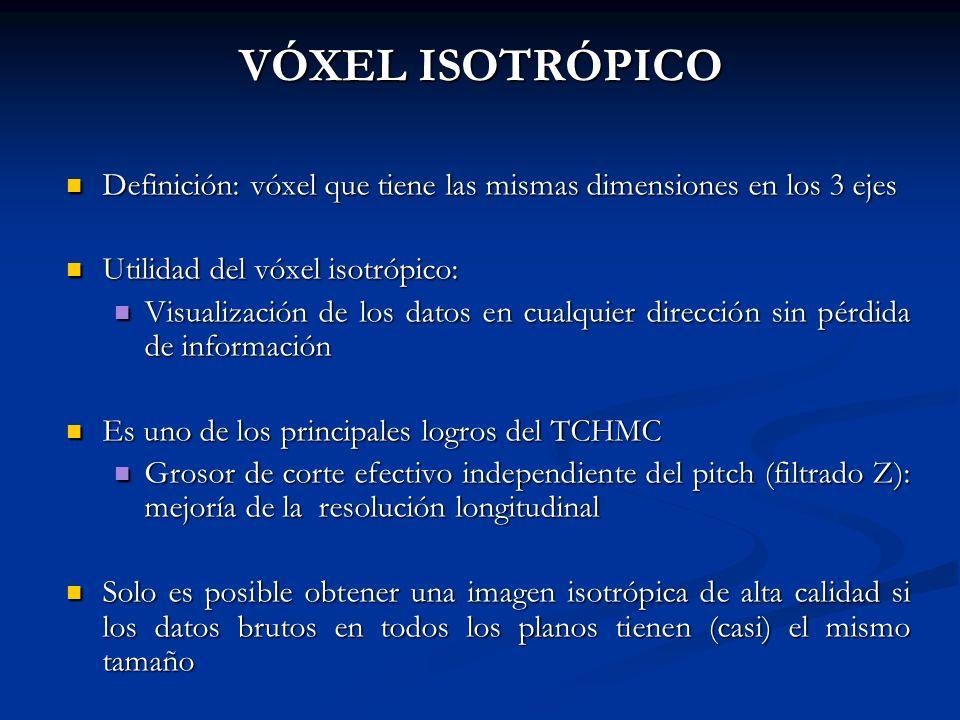 VÓXEL ISOTRÓPICO Definición: vóxel que tiene las mismas dimensiones en los 3 ejes Definición: vóxel que tiene las mismas dimensiones en los 3 ejes Uti