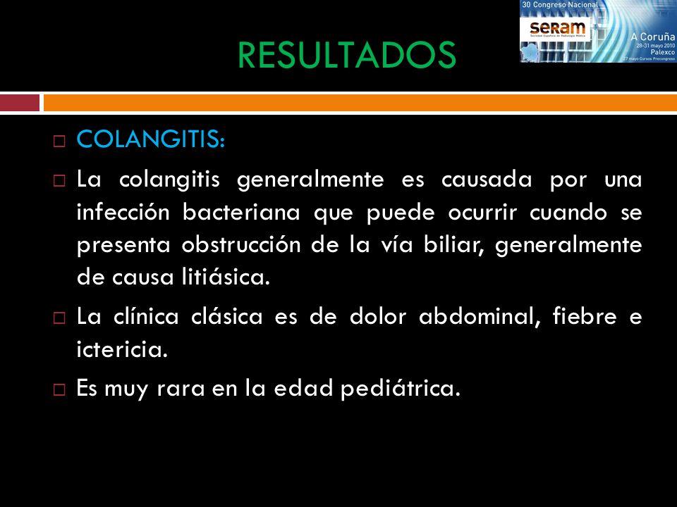 COLANGITIS: La colangitis generalmente es causada por una infección bacteriana que puede ocurrir cuando se presenta obstrucción de la vía biliar, gene