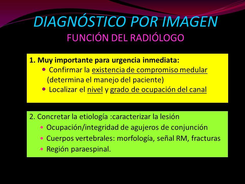 DIAGNÓSTICO POR IMAGEN FUNCIÓN DEL RADIÓLOGO 2. Concretar la etiología :caracterizar la lesión Ocupación/integridad de agujeros de conjunción Cuerpos