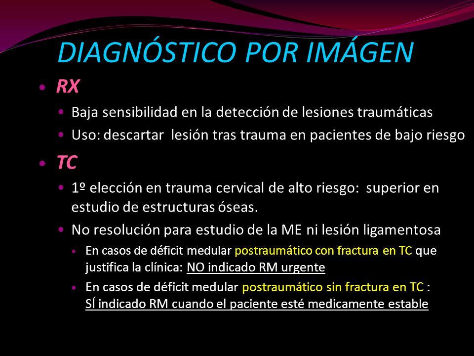 DIAGNÓSTICO POR IMÁGEN RX Baja sensibilidad en la detección de lesiones traumáticas Uso: descartar lesión tras trauma en pacientes de bajo riesgo TC 1