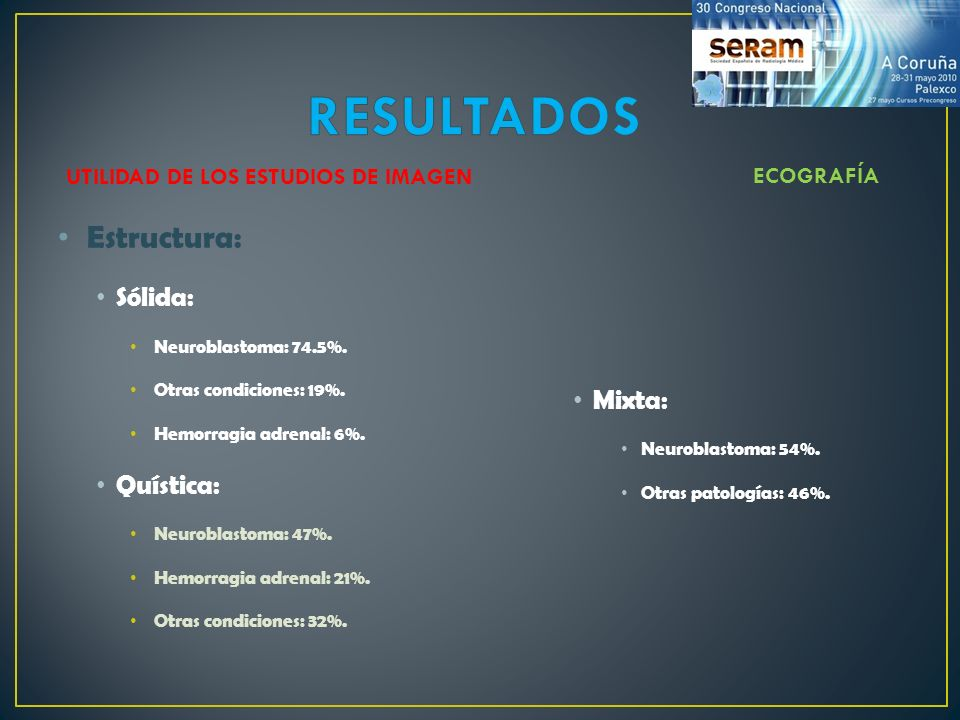 Estructura: Sólida: Neuroblastoma: 74.5%. Otras condiciones: 19%. Hemorragia adrenal: 6%. Quística: Neuroblastoma: 47%. Hemorragia adrenal: 21%. Otras