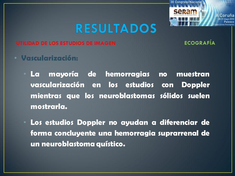 Vascularización: La mayoría de hemorragias no muestran vascularización en los estudios con Doppler mientras que los neuroblastomas sólidos suelen most