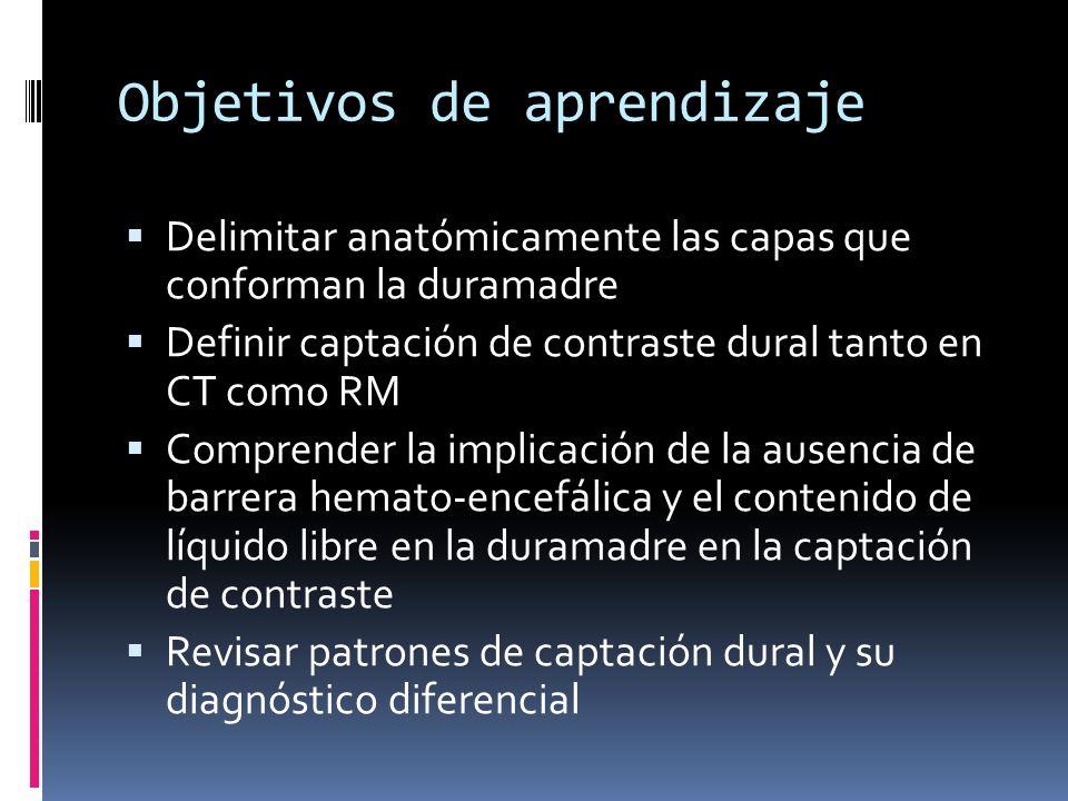 Objetivos de aprendizaje Delimitar anatómicamente las capas que conforman la duramadre Definir captación de contraste dural tanto en CT como RM Compre