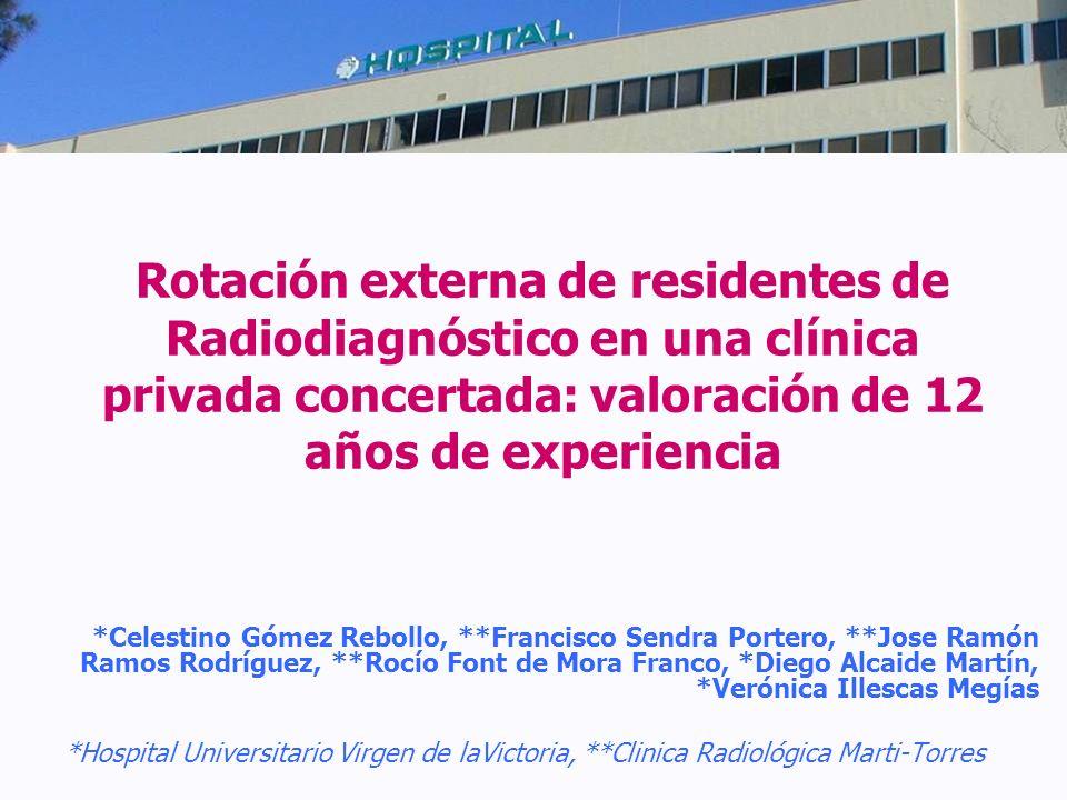 Rotación externa de residentes de Radiodiagnóstico en una clínica privada concertada: valoración de 12 años de experiencia *Celestino Gómez Rebollo, *