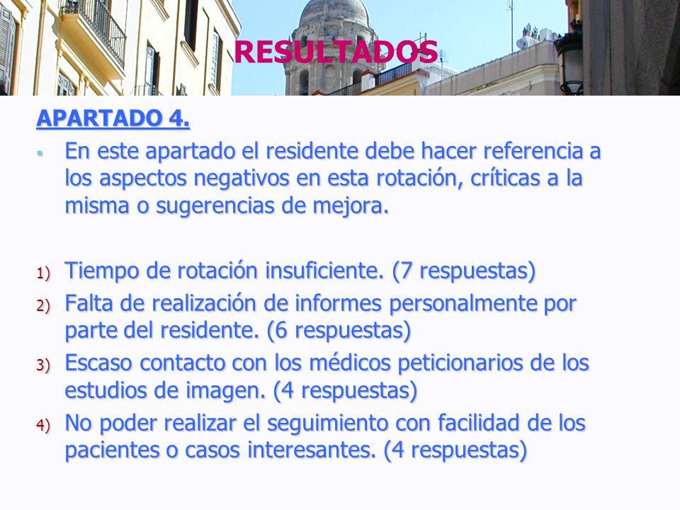 APARTADO 4. En este apartado el residente debe hacer referencia a los aspectos negativos en esta rotación, críticas a la misma o sugerencias de mejora