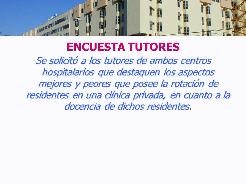 ENCUESTA TUTORES Se solicitó a los tutores de ambos centros hospitalarios que destaquen los aspectos mejores y peores que posee la rotación de residen